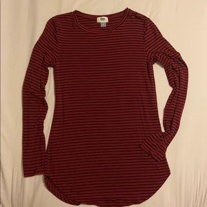 Long sleeve , dark red w/ black pinstripes